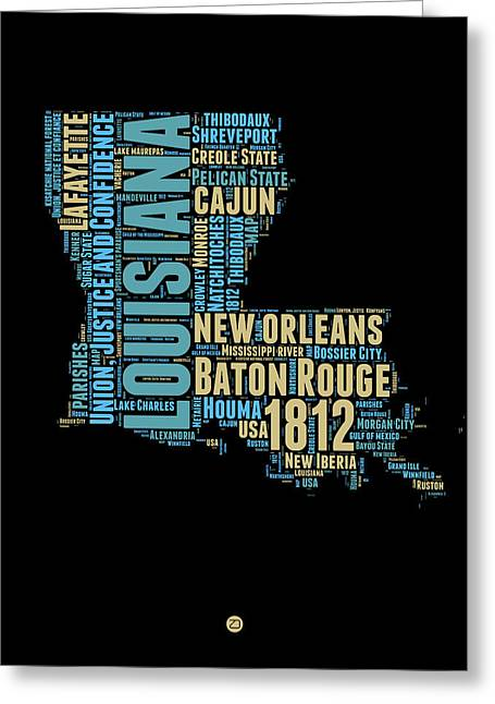 Cajun Greeting Cards - Louisiana Word Cloud Map 1 Greeting Card by Naxart Studio