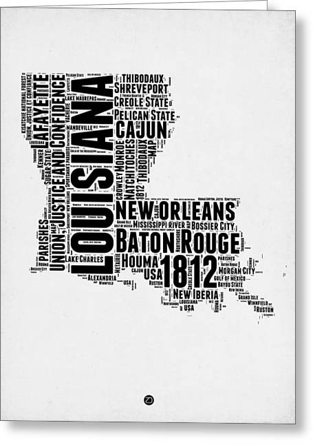 Cajun Greeting Cards - Louisiana Word Cloud Map 2 Greeting Card by Naxart Studio