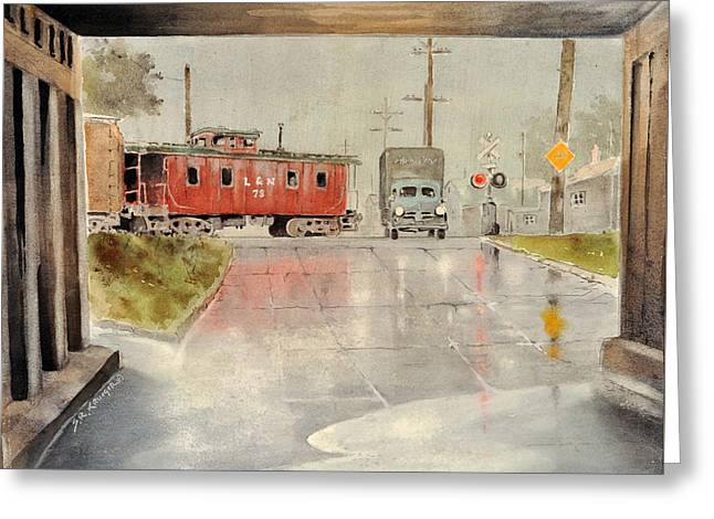Caboose Paintings Greeting Cards - Louisville and Nashville Railroad Rain Greeting Card by Steve Krueger
