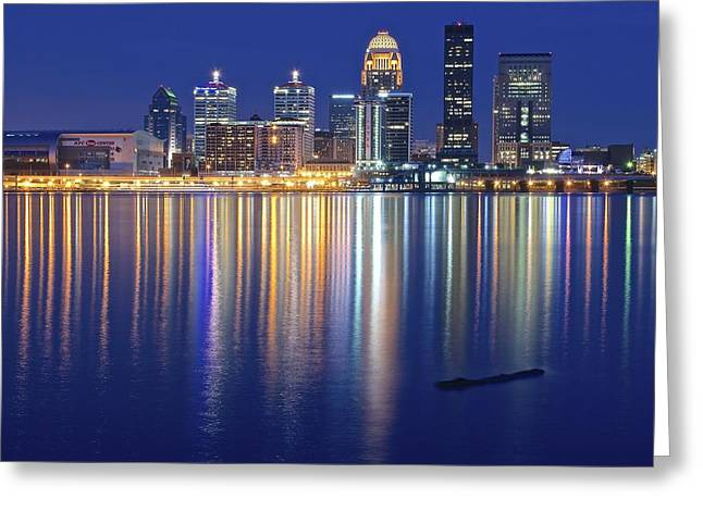 Louisville During Blue Hour Greeting Card by Frozen in Time Fine Art Photography