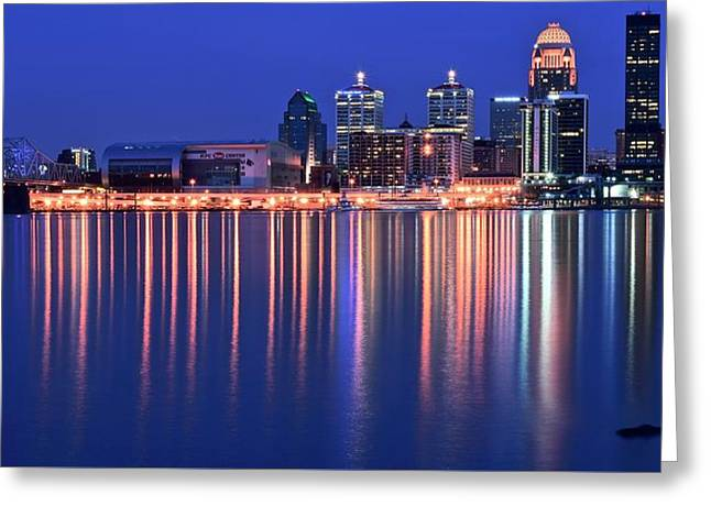 Yum Greeting Cards - Louisville Lights Up Nicely Greeting Card by Frozen in Time Fine Art Photography