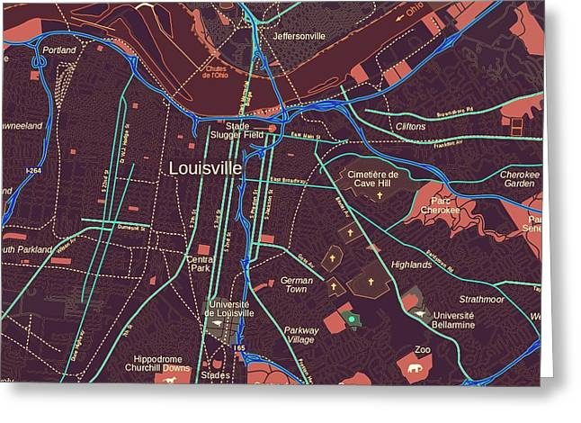 Louisville Map Greeting Card by Brandi Fitzgerald