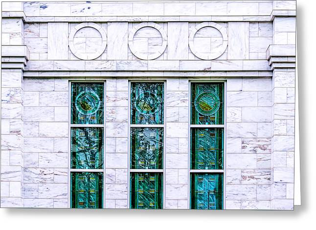 Louisville Temple Details Greeting Card by Greg Collins