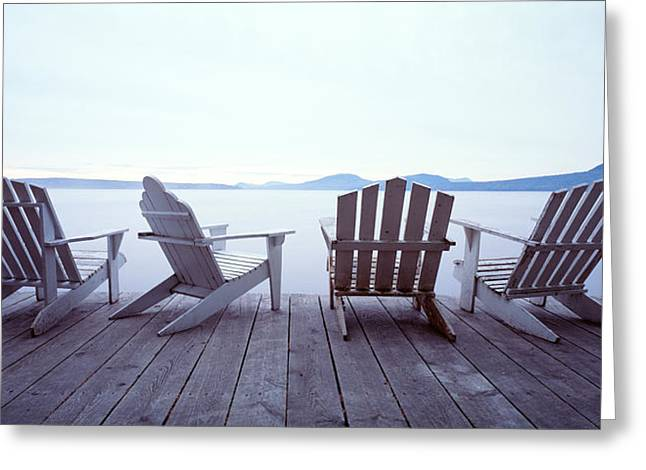 Deck Chairs Greeting Cards - Lounge Chairs Moosehead Lake Me Greeting Card by Panoramic Images