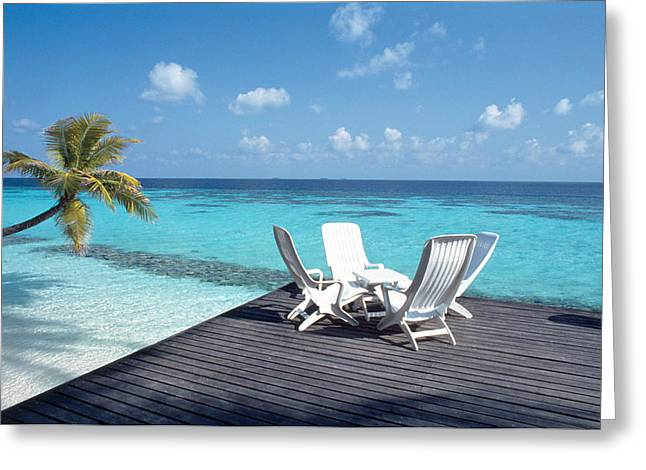 Color Bending Greeting Cards - Lounge Chairs On The Beach Greeting Card by Panoramic Images
