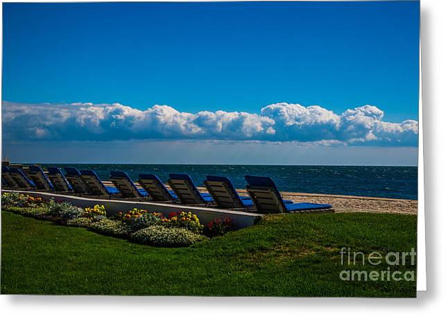 Chaise-lounge Greeting Cards - Lounging Greeting Card by Laura Ragosta