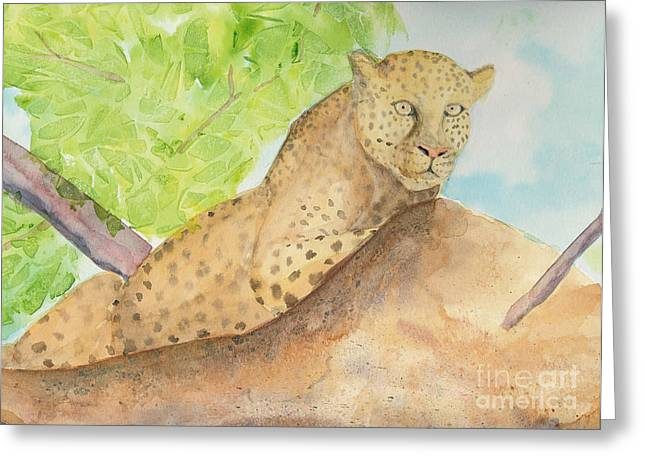 Safri Greeting Cards - Lounging Leopard Greeting Card by Vicki  Housel