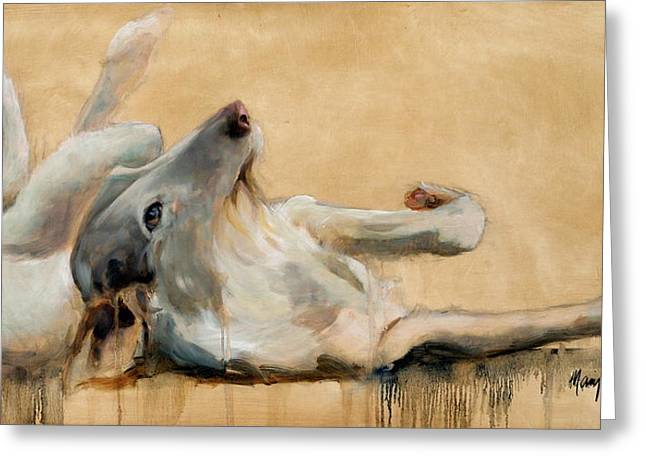 Sight Hound Greeting Cards - Lounging Greeting Card by Mary Leslie