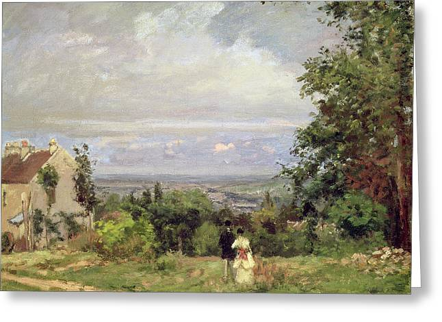 Sky Lovers Greeting Cards - Louveciennes Greeting Card by Camille Pissarro