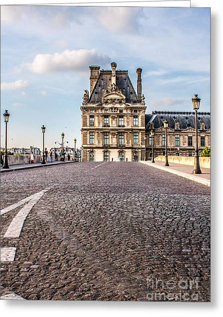 Royal Art Greeting Cards - Louvre and Street Lamps Greeting Card by Linda Arnado