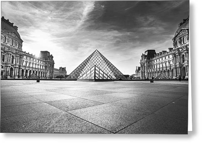 Chateau Greeting Cards - Louvre BW Greeting Card by Ivan Vukelic