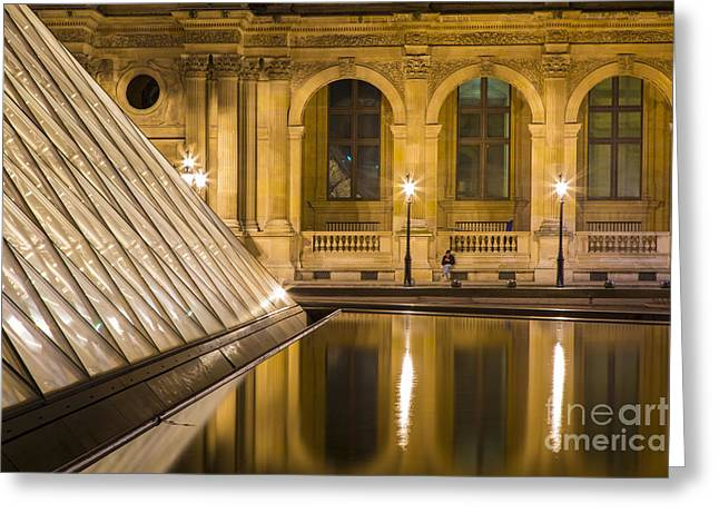 Pyramids Greeting Cards - Louvre Courtyard Lamps - Paris Greeting Card by Brian Jannsen