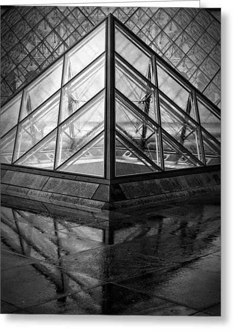 Louvre Pyramids Paris Bw Greeting Card by Joan Carroll