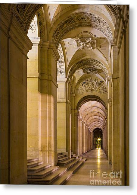 Stepping Stones Greeting Cards - Louvre Walkway Greeting Card by Brian Jannsen