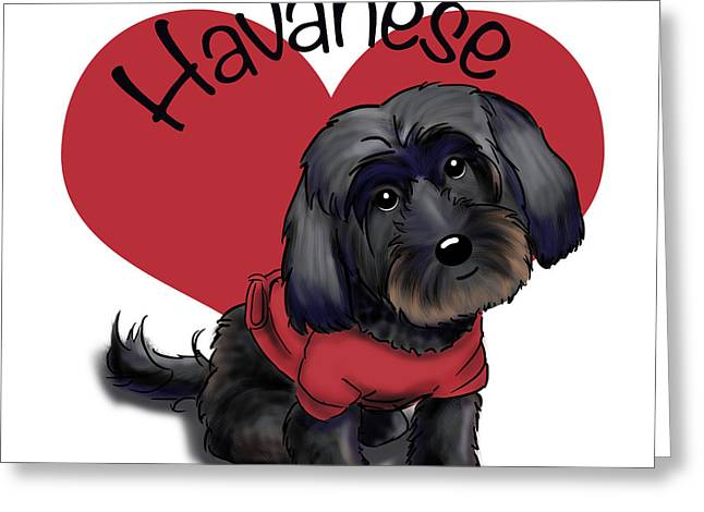 Puppies Mixed Media Greeting Cards - Lovable black Havanese Greeting Card by Catia Cho