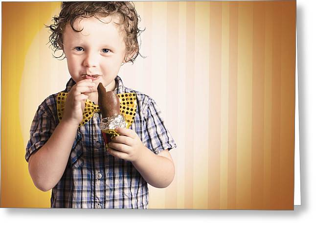 Bowtie Greeting Cards - Lovable Little Child Eating Chocolate Easter Bunny Greeting Card by Ryan Jorgensen