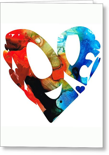 Love 8 - Heart Hearts Romantic Art Greeting Card by Sharon Cummings