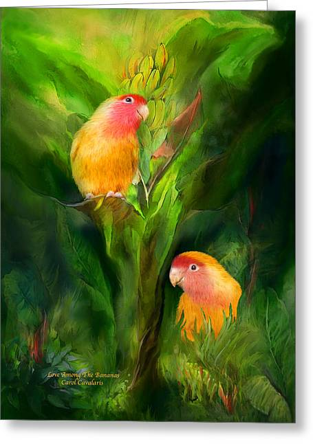 Peach Faced Lovebird Bird Greeting Cards - Love Among The Bananas Greeting Card by Carol Cavalaris