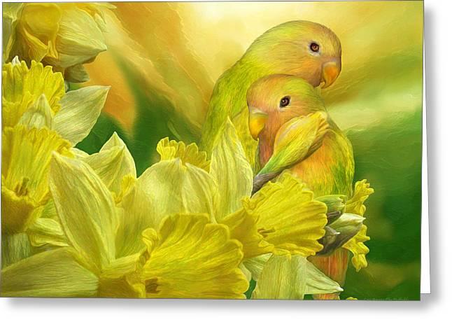 Peach Faced Lovebird Bird Greeting Cards - Love Among The Daffodils Greeting Card by Carol Cavalaris