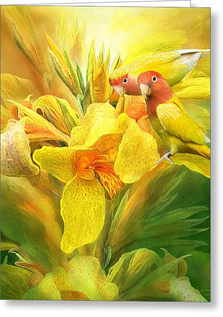 Love Among The Orchids Greeting Card by Carol Cavalaris