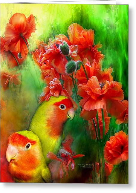 Love Among The Poppies Greeting Card by Carol Cavalaris