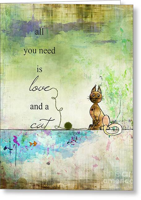 Quirky Drawings Greeting Cards - Love and a Cat Ginkelmier Greeting Card by Christina VanGinkel