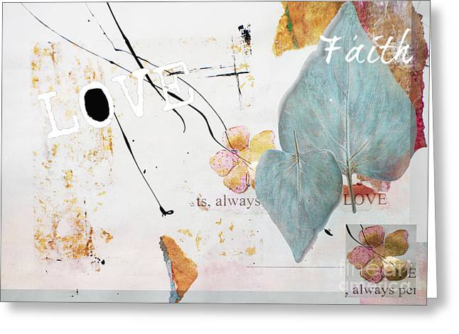 Houzz Greeting Cards - Love and Faith Gilded Collage Greeting Card by Anahi DeCanio - ArtyZen Studios