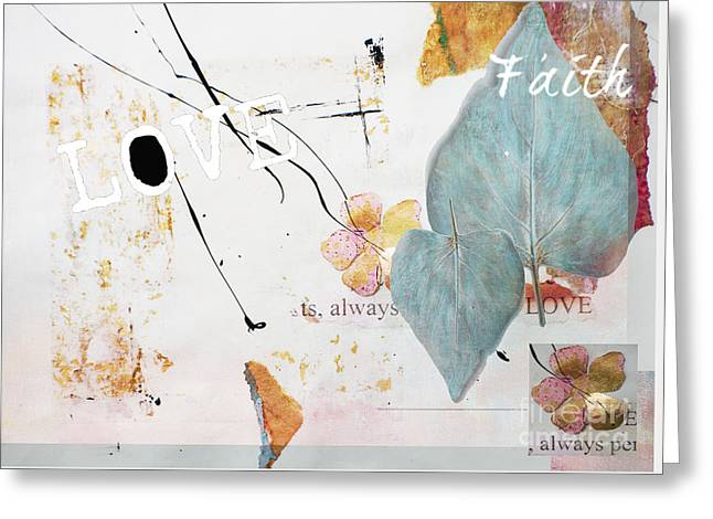 Frame House Mixed Media Greeting Cards - Love and Faith Gilded Collage Greeting Card by Anahi DeCanio - ArtyZen Studios