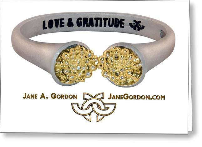 Diamond Jewelry Greeting Cards - Love and Gratitude Overflowing Diamond Bowls Greeting Card by Jane Gordon