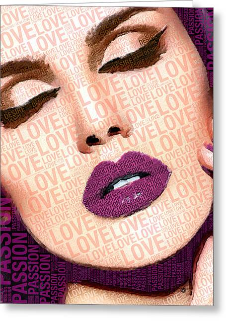 Painted Details Mixed Media Greeting Cards - Love And Passion Portrait Of A Woman With Words Purple Greeting Card by Tony Rubino