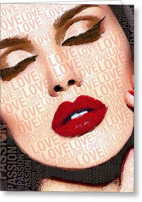 Love And Passion Portrait Of A Woman With Words Greeting Card by Tony Rubino