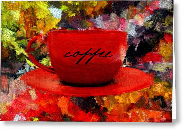 Downtown Cafe Greeting Cards - Love At First Sip Greeting Card by Lourry Legarde