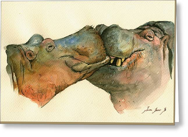 Hippos Greeting Cards - Love between Hippos Greeting Card by Juan  Bosco
