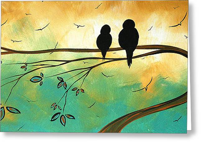 Yellow Brown Greeting Cards - Love Birds by MADART Greeting Card by Megan Duncanson