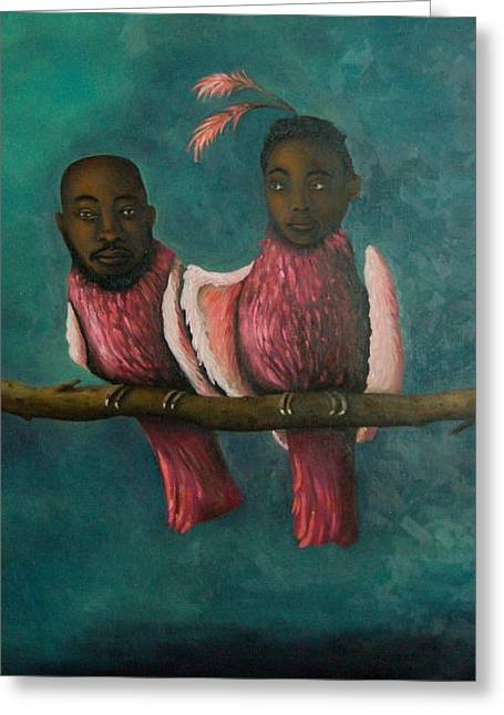 Afro-american Paintings Greeting Cards - Love Birds Greeting Card by Leah Saulnier The Painting Maniac