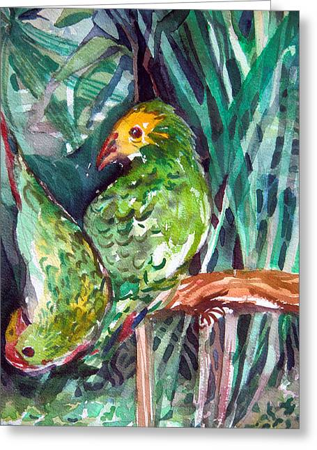 Baby Bird Drawings Greeting Cards - Love Birds Greeting Card by Mindy Newman
