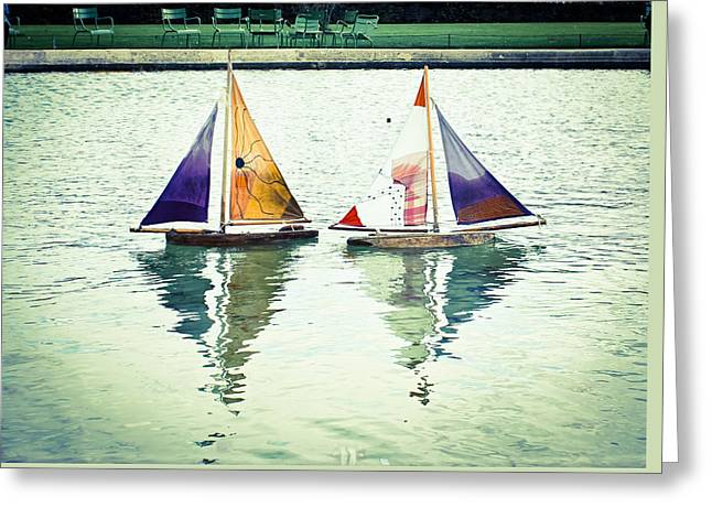 Toy Boat Greeting Cards - Love Boats Greeting Card by Rachel Helfand