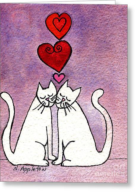 Appleton Paintings Greeting Cards - Love Cats Greeting Card by Norma Appleton