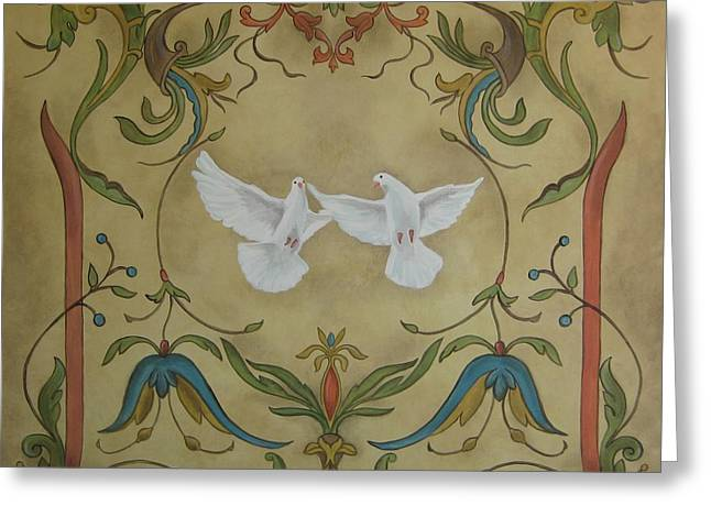 Faux Finish Greeting Cards - Love Doves Greeting Card by Jindra Noewi