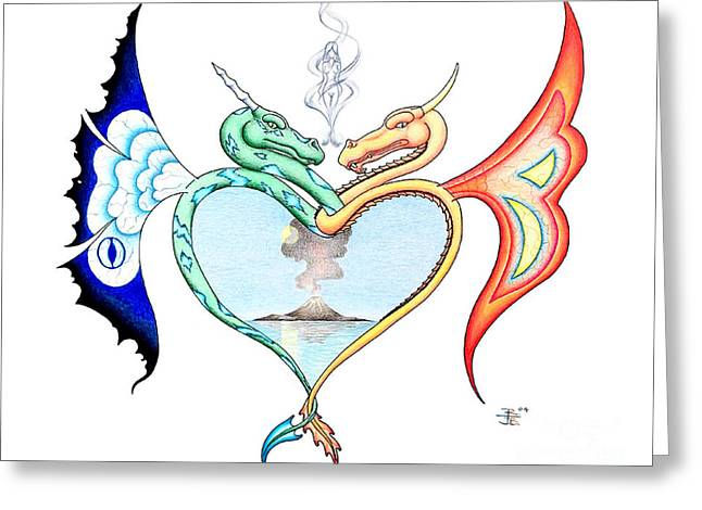 Love Dragons Greeting Card by Robert Ball