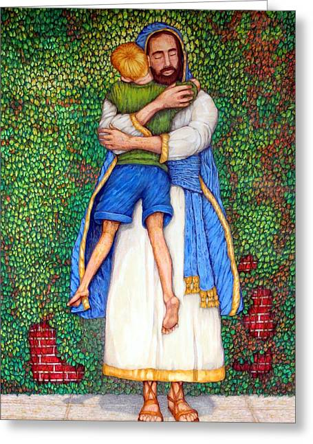 Christ Child Mixed Media Greeting Cards - Love Greeting Card by Edward Ruth