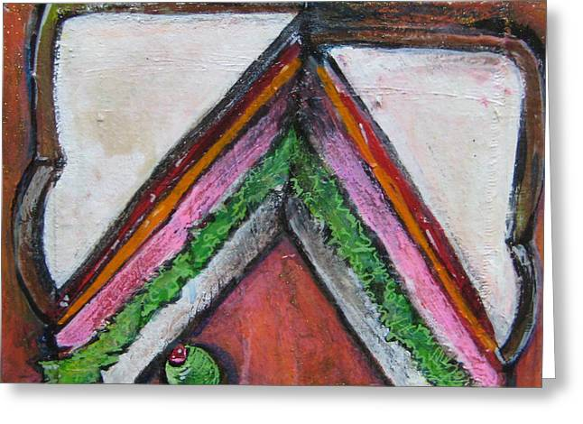 Love For Ham Sandwich Greeting Card by Laurie Maves ART