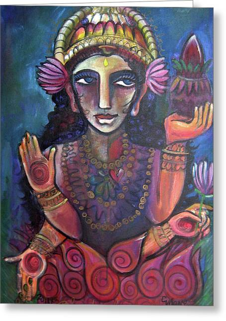 Hindu Goddess Paintings Greeting Cards - Love for Lakshmi Greeting Card by Laurie Maves Guglielmi