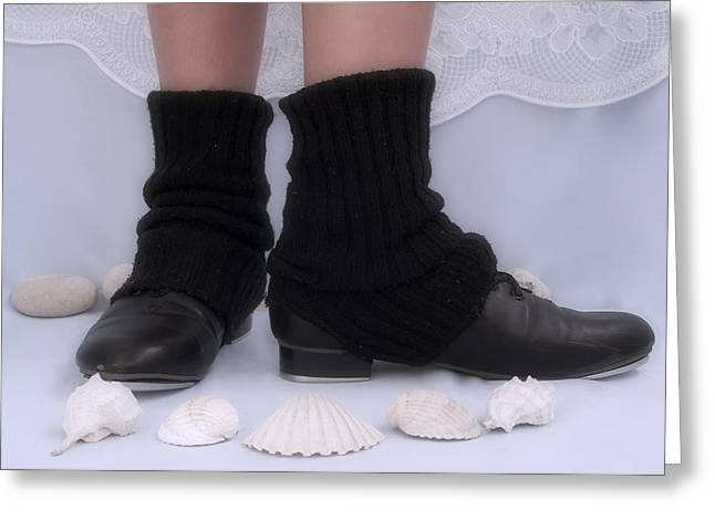 Tap Dancers Greeting Cards - Love for tap dance shoes in dance warmers Greeting Card by Pedro Cardona
