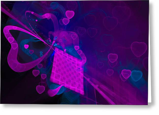 Magenta Fuchsia Greeting Cards - Love fractal with hearts Greeting Card by Matthias Hauser