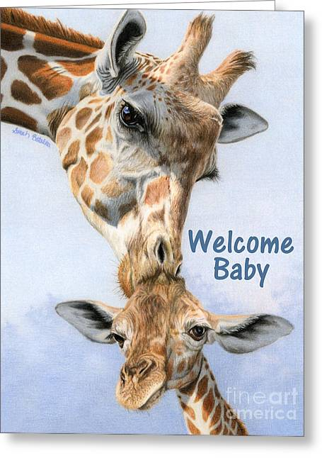 Love From Above- Welcome Baby Card Greeting Card by Sarah Batalka