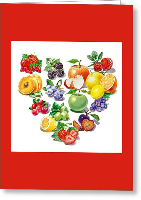 Labelled Greeting Cards - Love Fruits And Berries Greeting Card by Irina Sztukowski