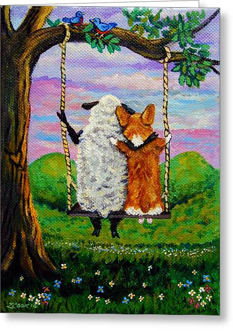 Puppies Paintings Greeting Cards - Love Grows where you Least Expect it Greeting Card by Lyn Cook
