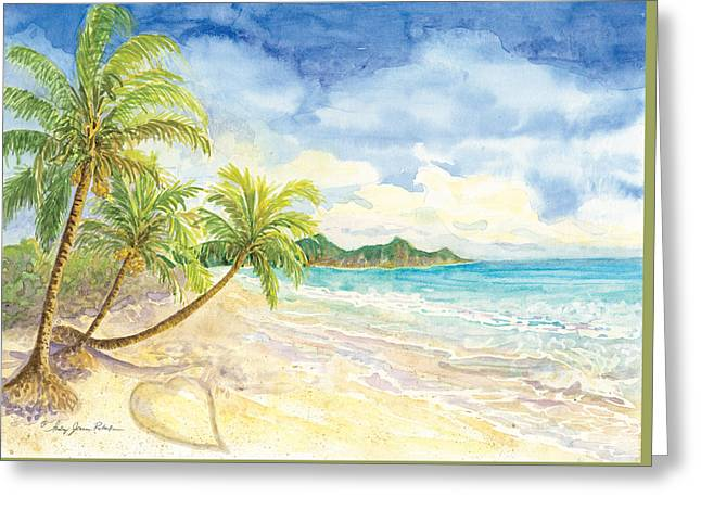 Love Heart On The Tropical Beach With Palm Trees Greeting Card by Audrey Jeanne Roberts