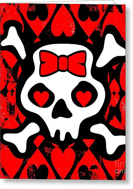 Emo Greeting Cards - Love Heart Skull Greeting Card by Roseanne Jones